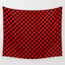 Diagonal Red and Black Buffalo Check Plaid Tartan Wall Tapestry