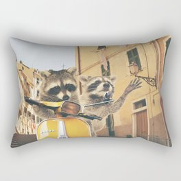 Raccoons on the road trip Rectangular Pillow