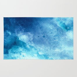 MINIMALIST ABSTRACT NAVY BLUE WATERCOLOUR SPLATTER Rug