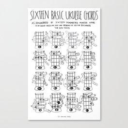 k.w.ink Ukulele Chords Chart: 16 Basic Ukulele Chords  Canvas Print
