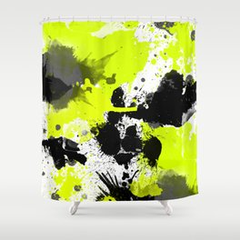 Lime Yellow Black Spats Shower Curtain