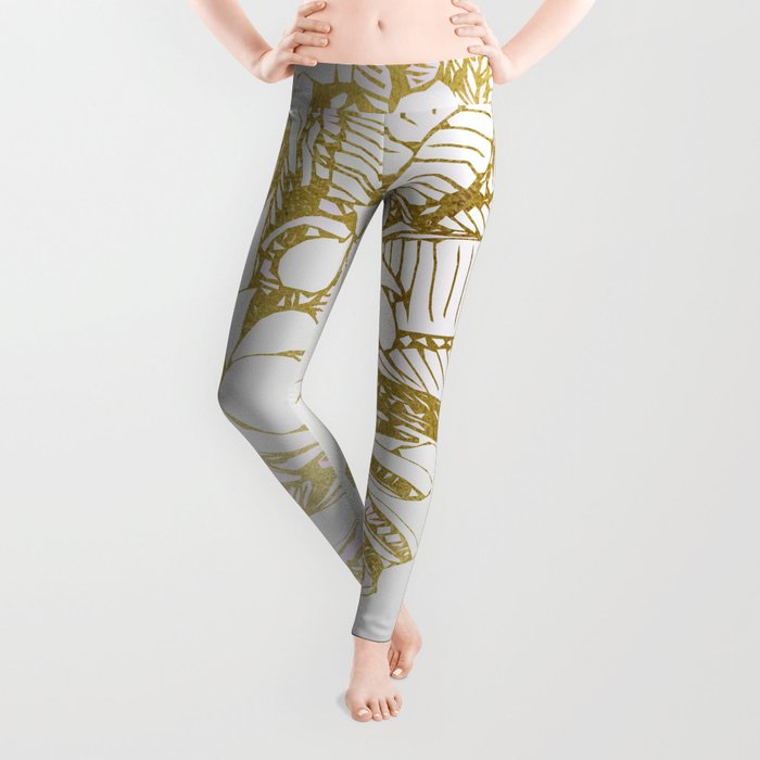 Gold Leaves and flowers from Thailand Leggings