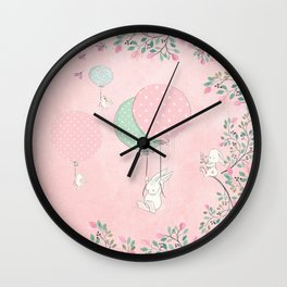 Cute flying Bunny with Balloon and Flower Rabbit Animal on pink floral background Wall Clock