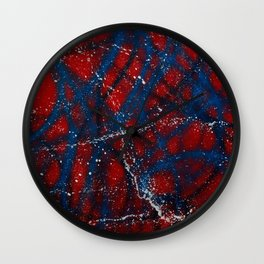 Red, White and Blue Spatter Wall Clock