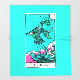 0. The Fool- Neon Dreams Tarot Throw Blanket
