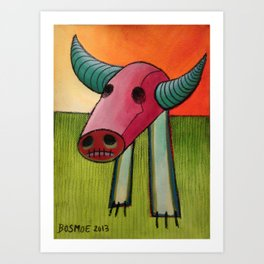 GMO Beef - Acrylic and Crayon on Paper - 2013 Art Print