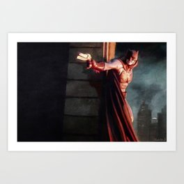 The Caped Crusader Swings Through Gotham Art Print