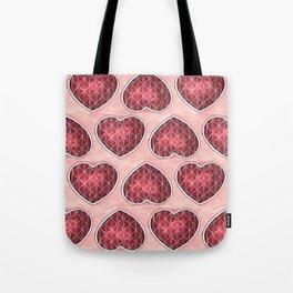 Wine Colored Hearts Tote Bag
