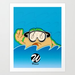 Swimmer Cartoon Character with Magic Feet Art Print