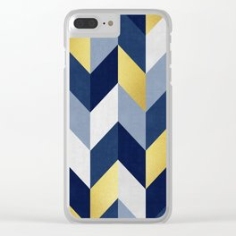 Blue and Gold Chevron Clear iPhone Case