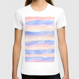 Abstract pink blue orange watercolor brushstrokes stripes T-shirt