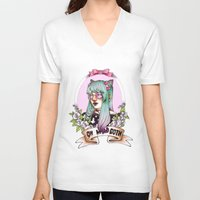 pastel goth V-neck T-shirts featuring Oh my GOTH! by Raquel Amo Art