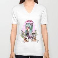 pastel goth V-neck T-shirts featuring Oh my GOTH! by Raquel Amo Art