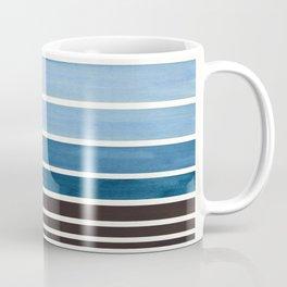 Green Blue Minimalist Watercolor Mid Century Staggered Stripes Rothko Color Block Geometric Art Coffee Mug
