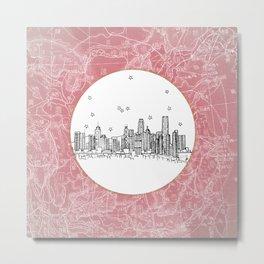 Hong Kong, China City Skyline Illustration Drawing Metal Print