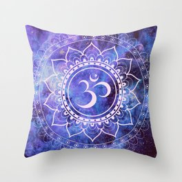 Om Mandala Purple Lavender Blue Galaxy Throw Pillow