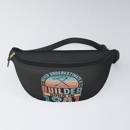 Builder born in 1981 40th Birthday Gift Building Fanny Pack