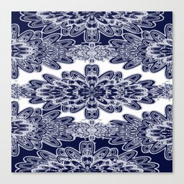Blue Floral Damask Canvas Print