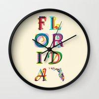 florida Wall Clocks featuring Florida by Fimbis