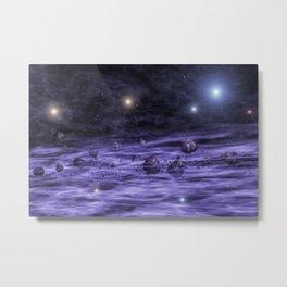Asteroids in space nebula Metal Print