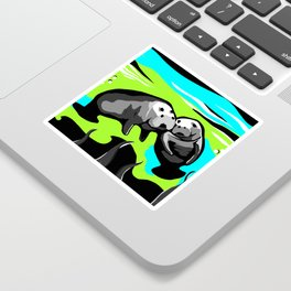 MANATEE LOVE in Blue Green Underwater Sticker