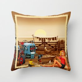 Pin Up Girl with tractor on the farm Throw Pillow
