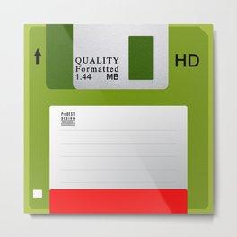 Floppy Disk Green Metal Print