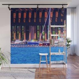 Summertime Boats In Dock Wall Mural