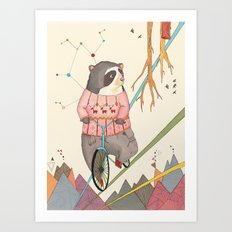 Bear in bicycle Art Print