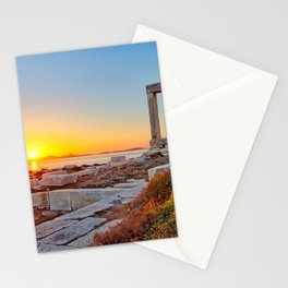 The sunset from Portara in Chora of Naxos island, Greece Stationery Cards