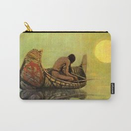 """N C Wyeth Vintage Western Painting """"Fishing Line"""" Carry-All Pouch"""