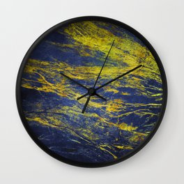 Classic Vintage Blue Faux Marble With Gold Veins Wall Clock