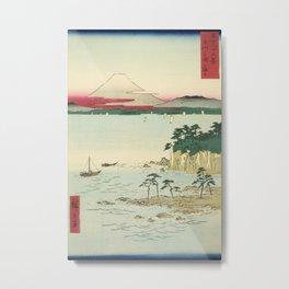 Vintage Japanese Woodblock Print Art - Miura Peninsula, Sagami Province By Utagawa Hiroshige, 1850's. Metal Print
