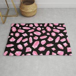 Pink Crystal on Black Pattern Rug
