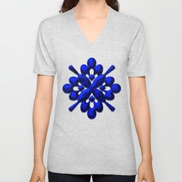 A202 Rich Blue and Black Abstract Design Unisex V-Neck