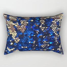 Gold and Blue Glitter Pattern Rectangular Pillow