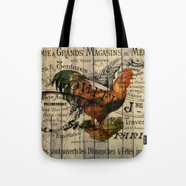 vintage typography barn wood shabby french country poulet chicken rooster Tote Bag