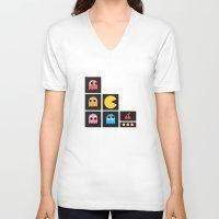 pac man V-neck T-shirts featuring pac man by pixel.pwn | AK