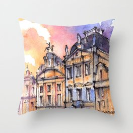 Brussels ink & watercolor illustration Throw Pillow