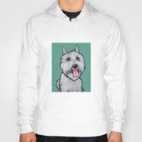 levi Hoodies featuring Levi the Miniature Schnauzer by Pawblo Picasso