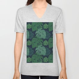 Monstera dark jungle pattern Unisex V-Neck