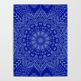 Blue Boho Mandala Poster