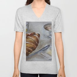 French breakfast, coffee and croissant, original oil painting, daily traditional art Unisex V-Neck