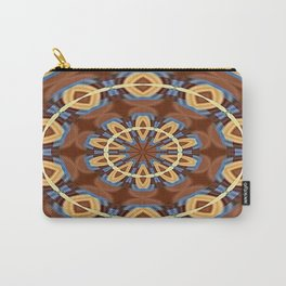Blue Wood Kaleido Pattern Carry-All Pouch