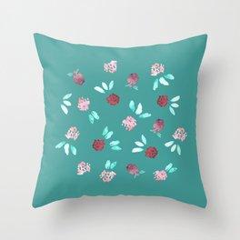 Clover Flowers on Mint Green Throw Pillow