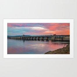 Table Rock Lake Dam Sunrise Panorama Art Print