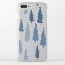 Pines and snowflakes pattern Clear iPhone Case