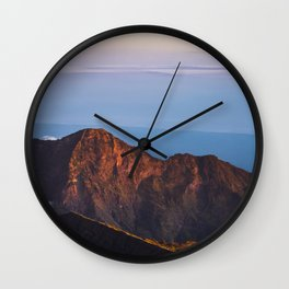 View from Rinjani Vulcano at sunrise   Lombok, Indonesia   Travel photography   Color Art Print Wall Clock