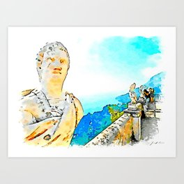 Ravello: busts on the balcony of Villa Cimbrone Art Print