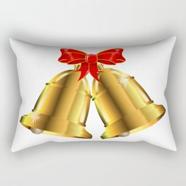 Two Christmas Bells Tied With Red Ribbon Rectangular Pillow